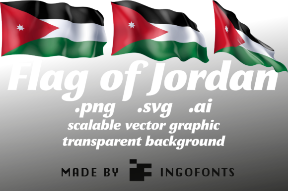 Download Free Waving Flag Of Jordan Grafico Por Ingofonts Creative Fabrica for Cricut Explore, Silhouette and other cutting machines.
