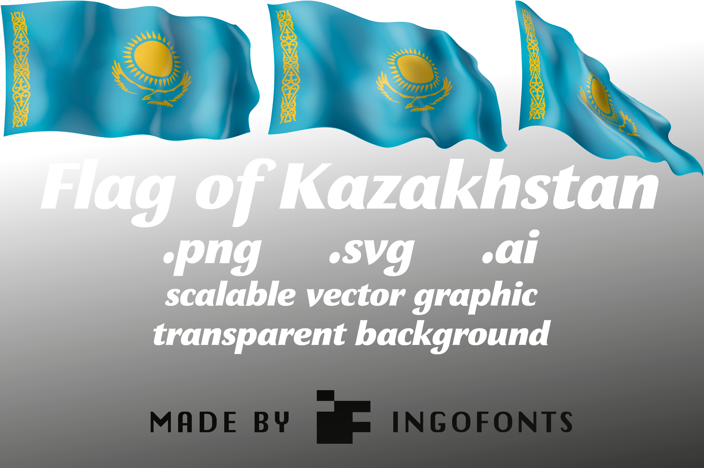Download Free Waving Flag Of Kazakhstan Graphic By Ingofonts Creative Fabrica for Cricut Explore, Silhouette and other cutting machines.