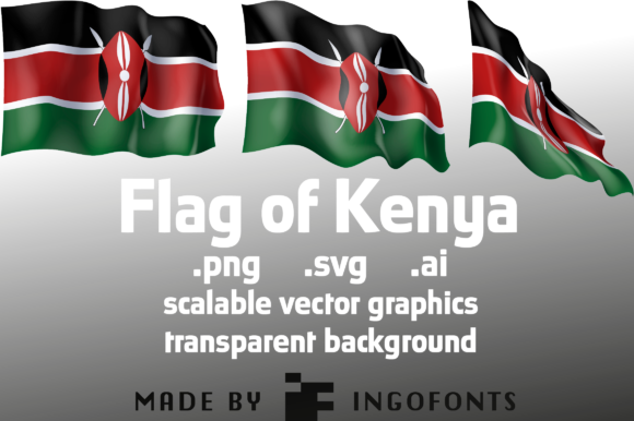 Download Free Waving Flag Of Kenya Graphic By Ingofonts Creative Fabrica for Cricut Explore, Silhouette and other cutting machines.