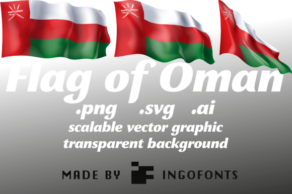 Download Free Waving Flag Of Oman Graphic By Ingofonts Creative Fabrica for Cricut Explore, Silhouette and other cutting machines.