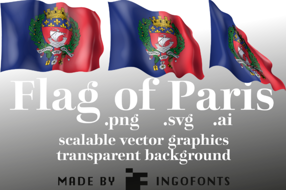 Download Free Waving Flag Of Paris Graphic By Ingofonts Creative Fabrica for Cricut Explore, Silhouette and other cutting machines.