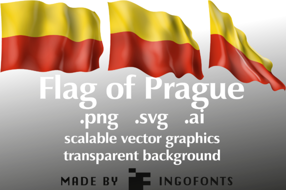 Download Free Waving Flag Of Prague Graphic By Ingofonts Creative Fabrica for Cricut Explore, Silhouette and other cutting machines.