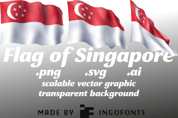 Download Free Waving Flag Of Singapore Graphic By Ingofonts Creative Fabrica for Cricut Explore, Silhouette and other cutting machines.