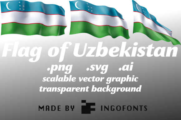 Download Free Waving Flag Of Uzbekistan Graphic By Ingofonts Creative Fabrica for Cricut Explore, Silhouette and other cutting machines.