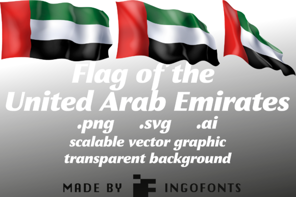 Download Free Waving Flag Of The United Arab Emirates Graphic By Ingofonts for Cricut Explore, Silhouette and other cutting machines.