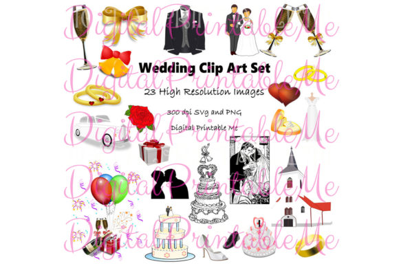 Print on Demand: Wedding Clip Art Marriage Love Wed Graphic Illustrations By DigitalPrintableMe - Image 1