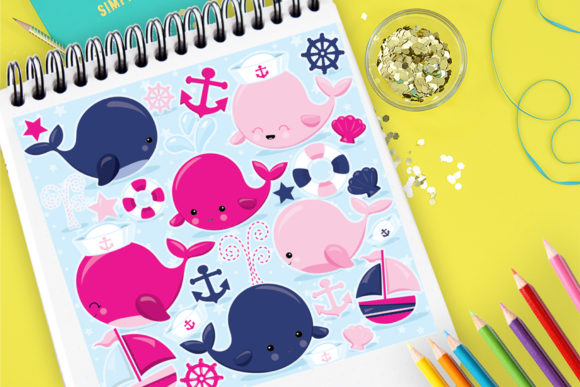 Print on Demand: Whale Family Pink Graphic Illustrations By Prettygrafik