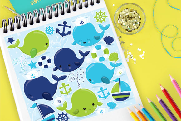 Print on Demand: Whale Family Graphic Illustrations By Prettygrafik