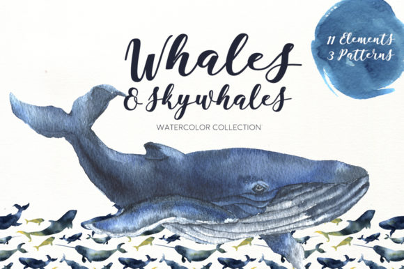 Whales and Skywhales. Watercolor Graphic Illustrations By y.derbisheva