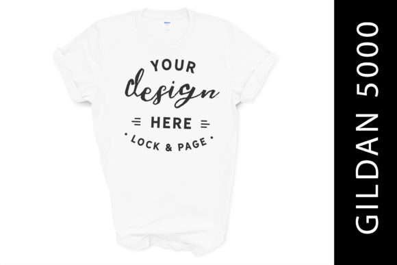 White Gildan 5000 Mockup Tee on White BG Graphic Product Mockups By lockandpage