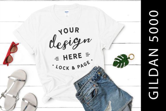 White Gildan 5000 T-Shirt Mockup Female Graphic Product Mockups By lockandpage