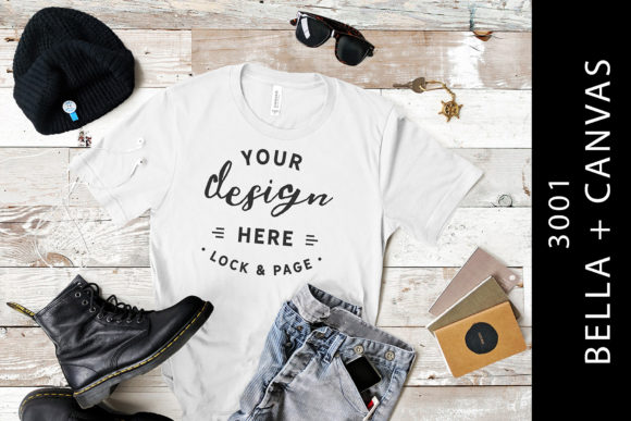 Download Free White Male Bella Canvas 3001 Tee Mockup Graphic By Lockandpage for Cricut Explore, Silhouette and other cutting machines.