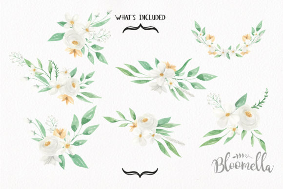 White Meringue Flower Watercolor Set Graphic By Bloomella Image 2