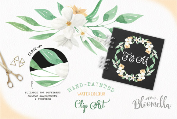 White Meringue Flower Watercolor Set Graphic By Bloomella Image 3