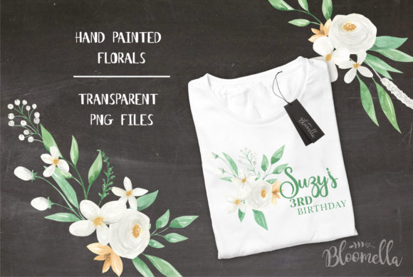 White Meringue Flower Watercolor Set Graphic By Bloomella Image 4