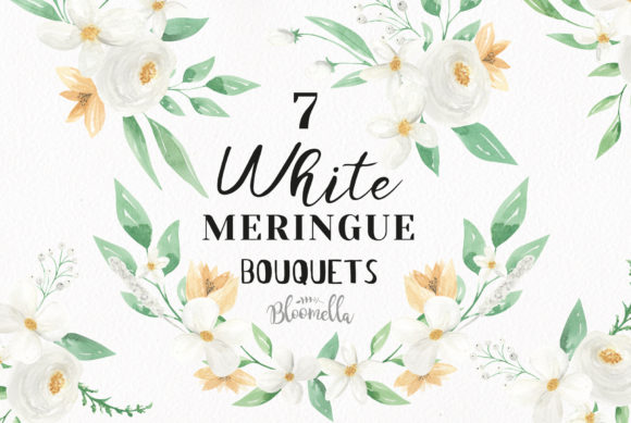 White Meringue Flower Watercolor Set Graphic By Bloomella Image 1
