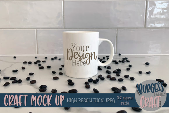 White Coffee Mug Beans Mock Up JPG Graphic Product Mockups By burgessfamilycraft