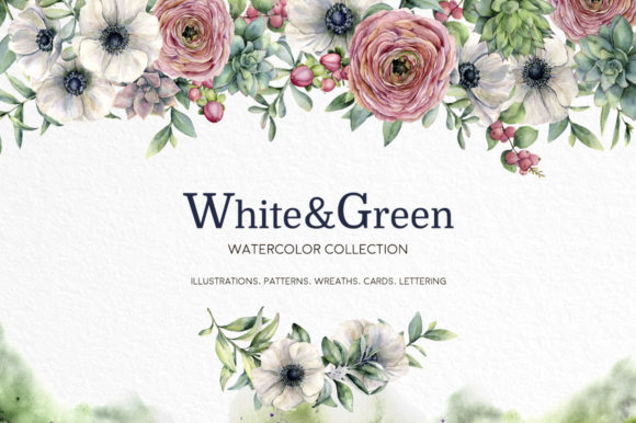 White&Green. Watercolor Anemone Set Graphic Illustrations By y.derbisheva