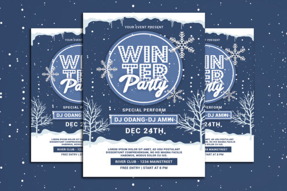 Winter Party Flyer Graphic Print Templates By muhamadiqbalhidayat