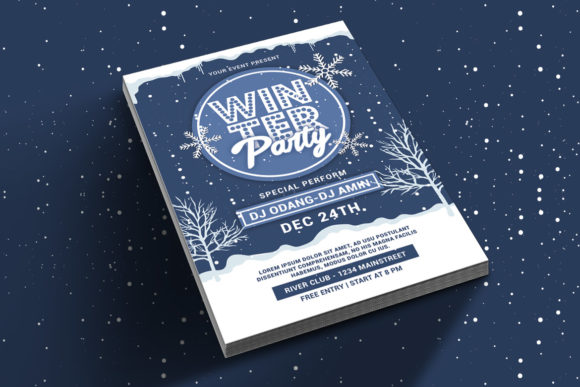 Download Free Winter Party Flyer Graphic By Muhamadiqbalhidayat Creative Fabrica for Cricut Explore, Silhouette and other cutting machines.