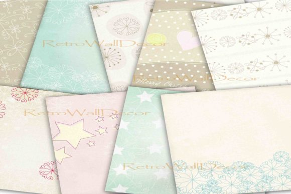 Print on Demand: Winter Papers Graphic Backgrounds By retrowalldecor - Image 2