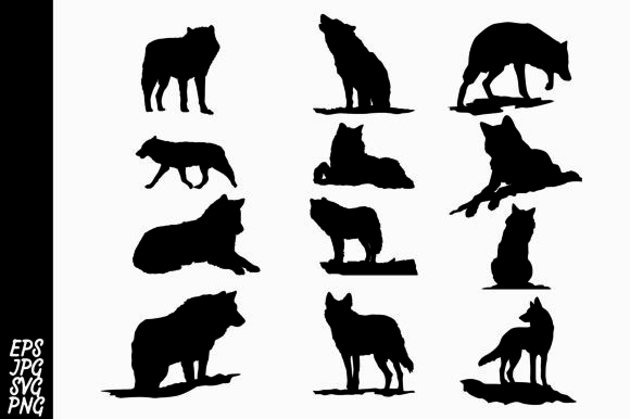 Print on Demand: Wolf Silhouette SVG Bundle Graphic Crafts By Arief Sapta Adjie