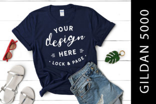 Download Free Women S Navy Gildan 5000 T Shirt Mockup Graphic By Lockandpage for Cricut Explore, Silhouette and other cutting machines.