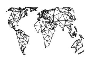 World Map with Geometric Lines Craft Design By Creative Fabrica Crafts