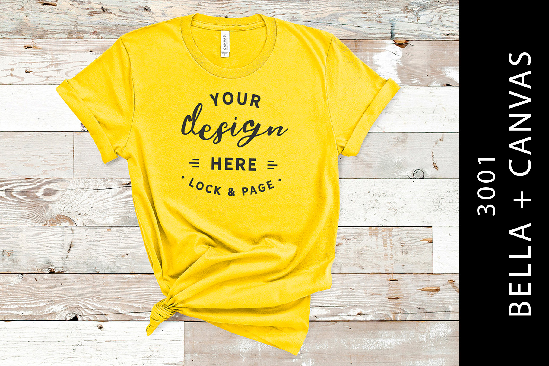 Download Free Yellow Bella Canvas 3001 Mockup T Shirt Graphic By Lockandpage SVG Cut Files