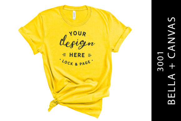 Yellow Bella Canvas 3001 T Shirt Mockup Graphic Product Mockups By lockandpage