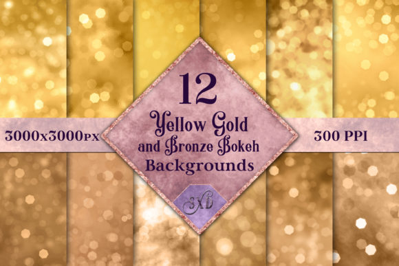 Yellow Gold & Bronze Bokeh Backgrounds Graphic By SapphireXDesigns Image 1