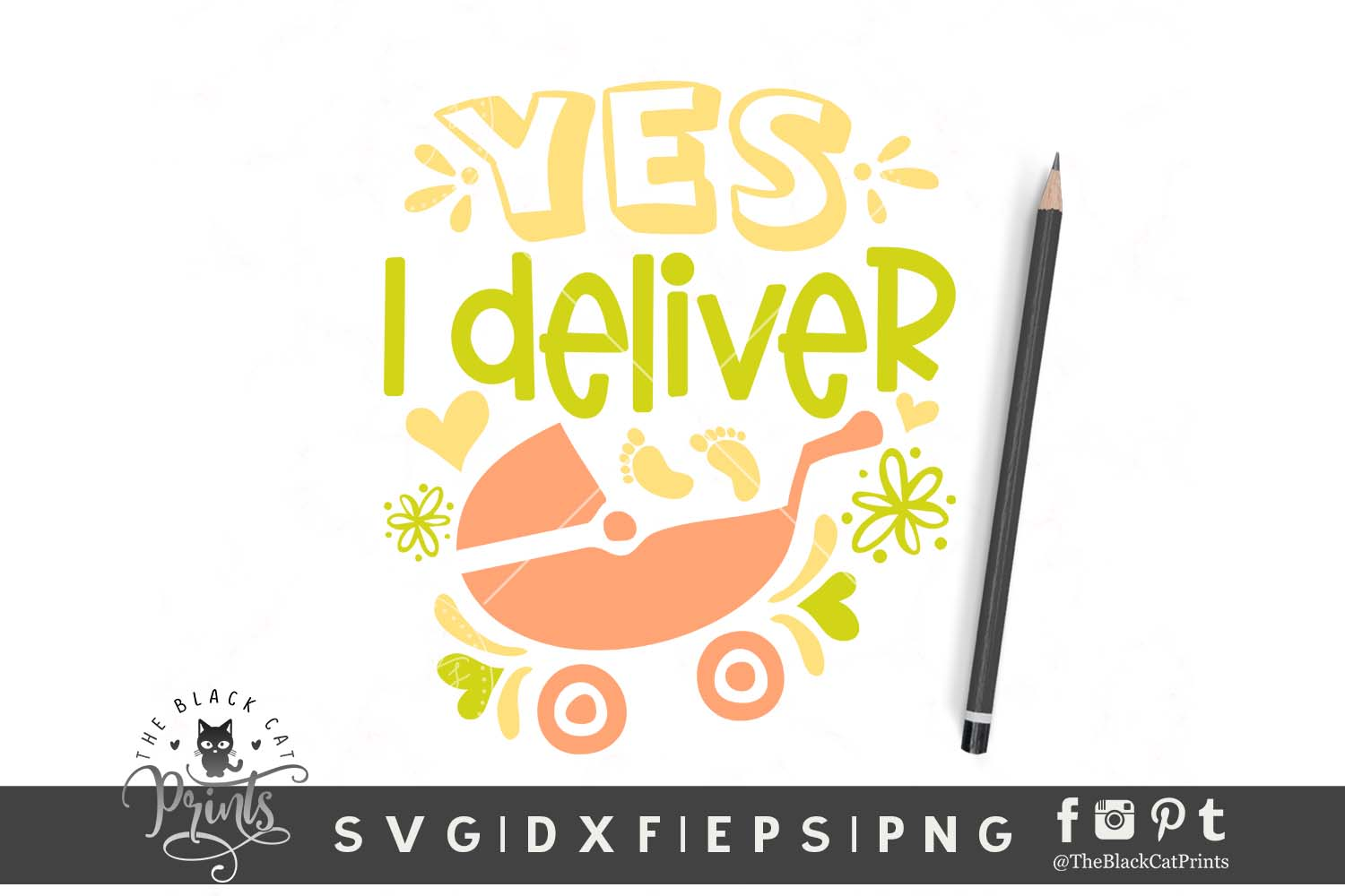 Download Free Yes I Deliver Graphic By Theblackcatprints Creative Fabrica for Cricut Explore, Silhouette and other cutting machines.
