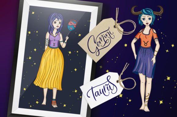 Print on Demand: Zodiac Nymphs. Big Graphic Set. Graphic Illustrations By Red Ink - Image 11