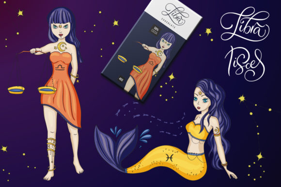 Print on Demand: Zodiac Nymphs. Big Graphic Set. Graphic Illustrations By Red Ink - Image 13