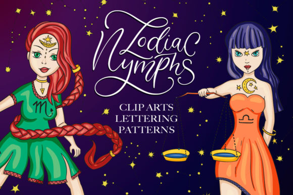 Zodiac Nymphs. Big Graphic Set. Graphic By Red Ink