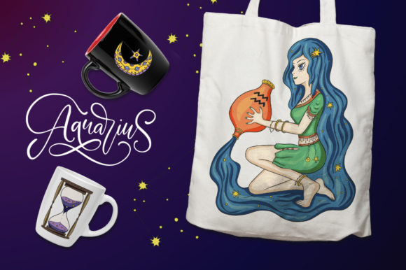 Print on Demand: Zodiac Nymphs. Big Graphic Set. Graphic Illustrations By Red Ink - Image 10