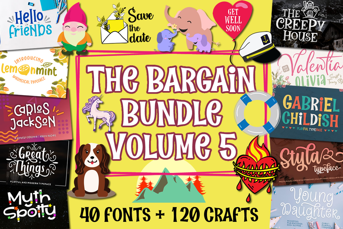 Download Free Bargain Bundle Vol 5 Bundle Creative Fabrica for Cricut Explore, Silhouette and other cutting machines.