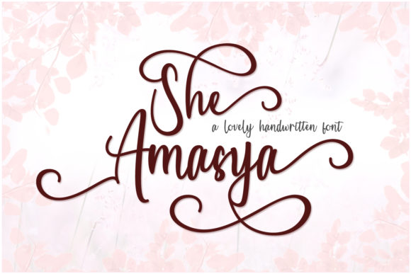 Print on Demand: She Amasya Script & Handwritten Font By Marchtwentype