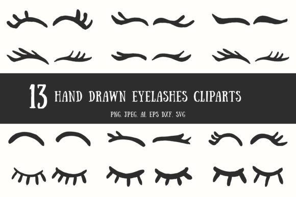 Print on Demand: 10+ Handdrawn Eyelashes Cliparts Graphic Illustrations By Creative Tacos