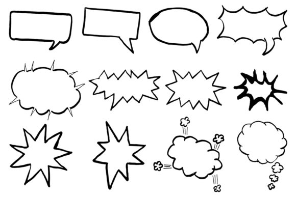 Print on Demand: 10+ Handdrawn Speech Bubble Cliparts Graphic Illustrations By Creative Tacos - Image 2