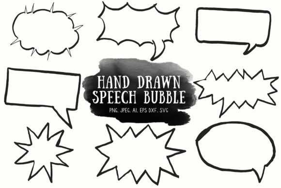 Print on Demand: 10+ Handdrawn Speech Bubble Cliparts Graphic Illustrations By Creative Tacos