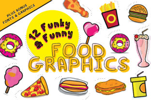 Download Free 12 Funky Funny Food Graphics Graphic By Graphicsbam Fonts for Cricut Explore, Silhouette and other cutting machines.