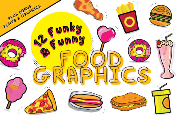 Print on Demand: 12 Funky & Funny Food Graphics Graphic Crafts By GraphicsBam Fonts