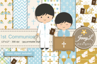 1st Communion Boy Digital Papers Graphic Patterns By jennyL_designs