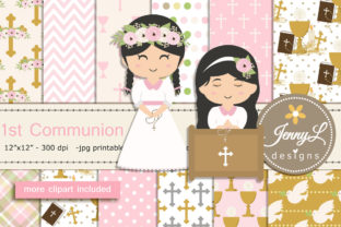 1st Communion Girl Digital Papers Graphic Patterns By jennyL_designs