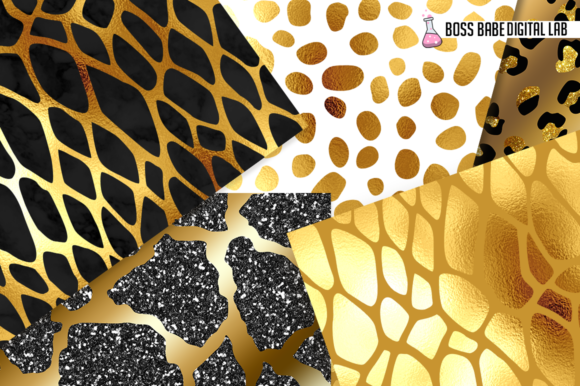 Print on Demand: 20 Gold Glam Animal Print Patterns Graphic Patterns By bossbabedigitallab - Image 2