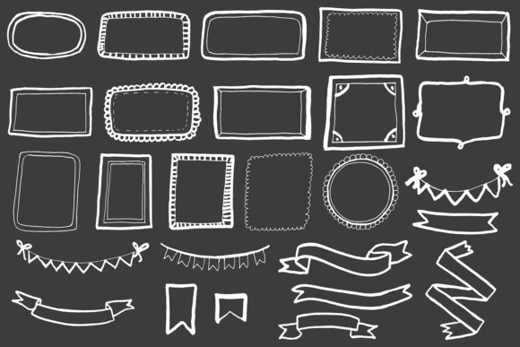 Download Free 20 Handdrawn Frames Ribbons Cliparts Grafik Von Creative for Cricut Explore, Silhouette and other cutting machines.