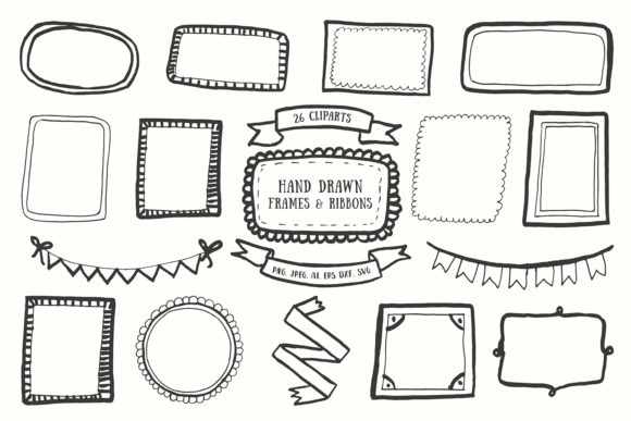 Download Free 20 Handdrawn Frames Ribbons Cliparts Graphic By Creative SVG Cut Files