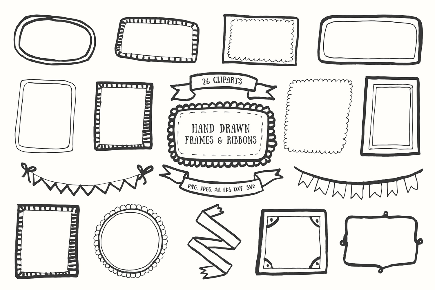 Download Free 20 Handdrawn Frames Ribbons Cliparts Graphic By Creative for Cricut Explore, Silhouette and other cutting machines.