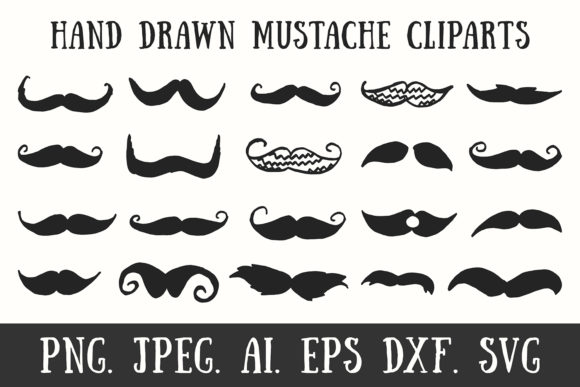 Print on Demand: 20 Handmade Mustache Cliparts Graphic Illustrations By Creative Tacos